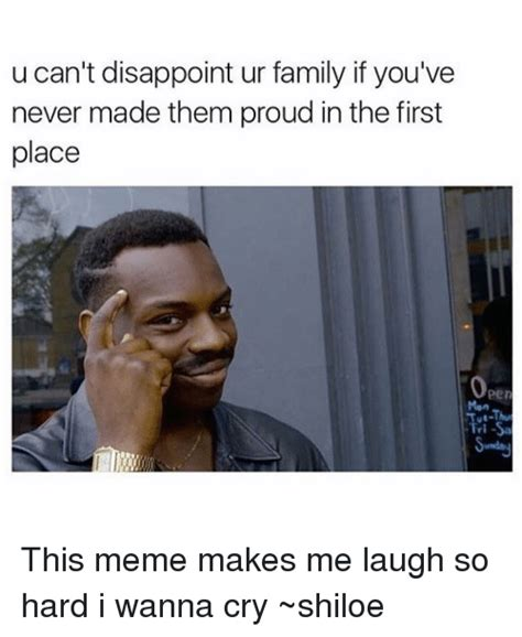 Make Me Laugh Meme - u can t disappoint ur family if you ve never made them
