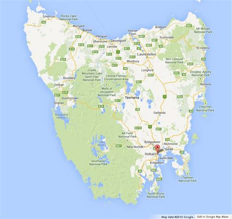 hobart  map  tasmania
