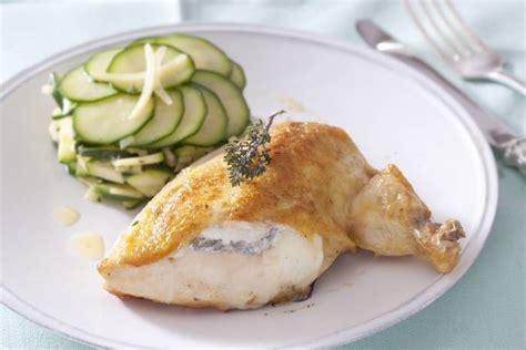 cours de cuisine à offrir recette de suprême de volaille contisé au chèvre courgettes crues et cuites au citron confit