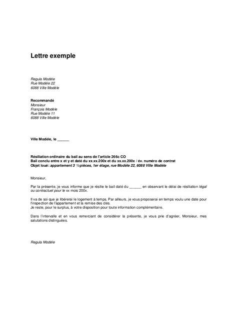 bail location bureau lettre exemple lettre de résiliation