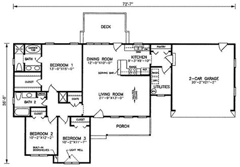 1500 square foot floor plans 1500 square feet 3 bedrooms 2 batrooms 2 parking space on 1 levels house plan 20633 all