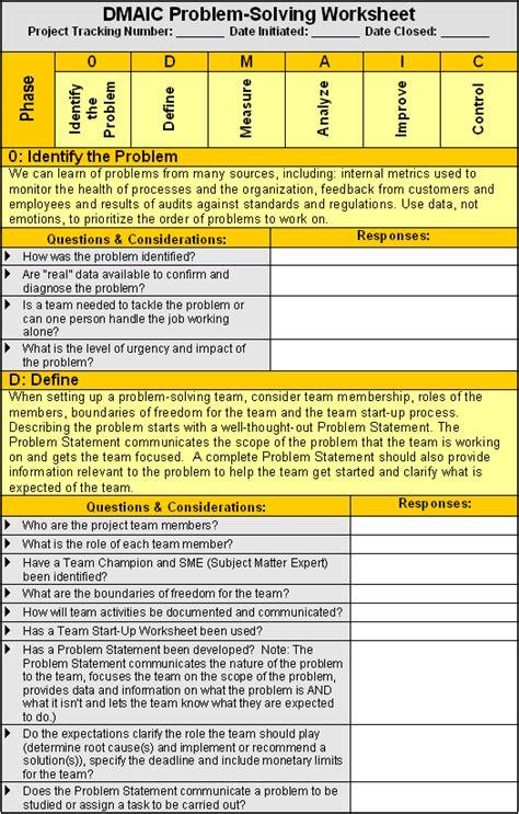dmaic worksheet qualitytrainingportal