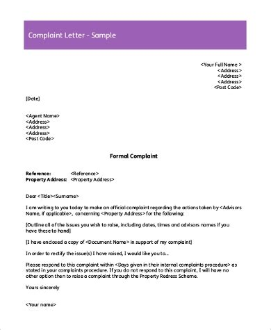 sample complaint letters   word