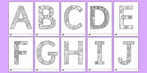 Uppercase Alphabet Pattern Themed Mindfulness Colouring