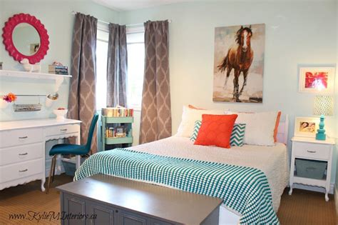 Budget Friendly Girls Bedroom Ideas  Light Blue, Coral, Pink