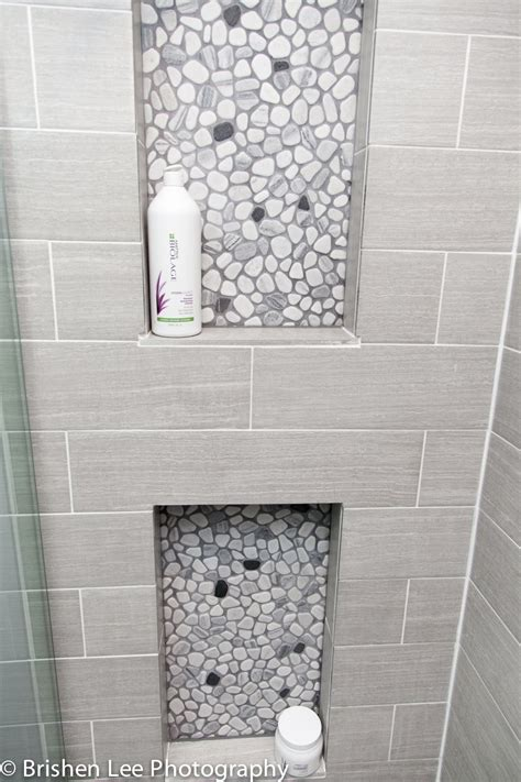 shower nooks  marble pebbles  horizontal grey