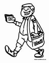 Postal Worker Mailman Coloring Pages Colormegood sketch template