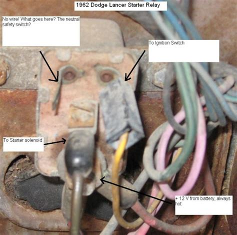 62 lancer starter solenoid wiring question for a bodies only mopar forum