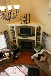 Ideas For Living Room Corner by Solution For Corner Fireplace Built In Bookcase And