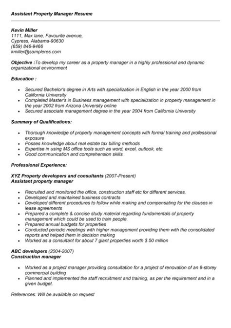 Exle Resumes For Assistant Property Managers by Assistant Property Manager Resume Sle Jennywashere