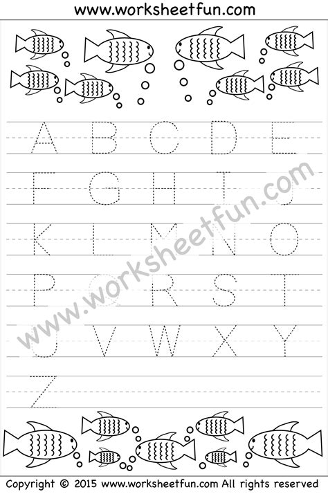 letter tracing worksheet capital letters fish theme