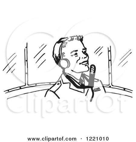 11742 pilot clipart black and white of a black and white flying a plane