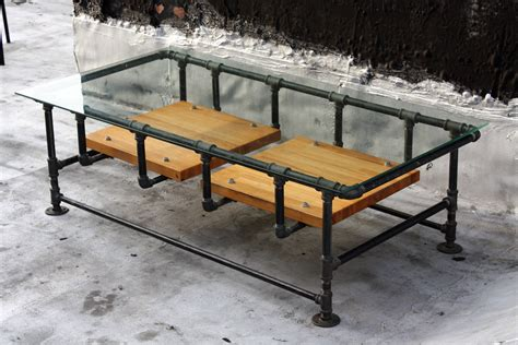 Industrial Iron Pipe Coffee Table W. Glass Top And Reclaimed