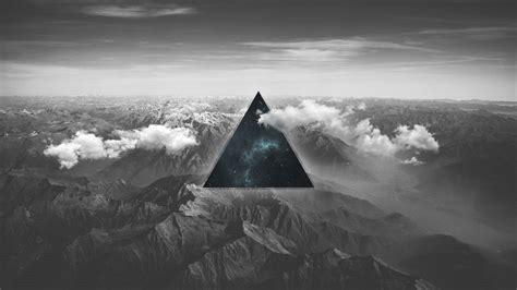 wallpaper glitch monochrome mountains  creative
