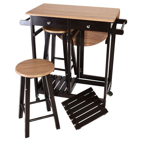 kitchen island with stools 3pcs kitchen island set with drop leaf table 2 stools wood