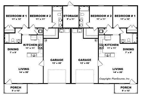 small house plans 2 bedroom duplex plan garage per unit j0222 13d 2