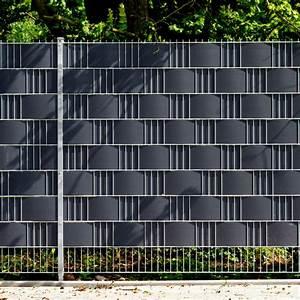 pvc sichtschutzstreifen doppelstabmattenzaun anthrazit With französischer balkon mit trennwand garten stein