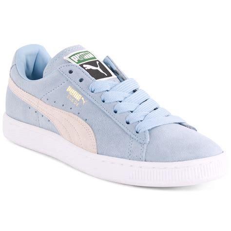 light blue puma shoes puma suede classic womens trainers light blue
