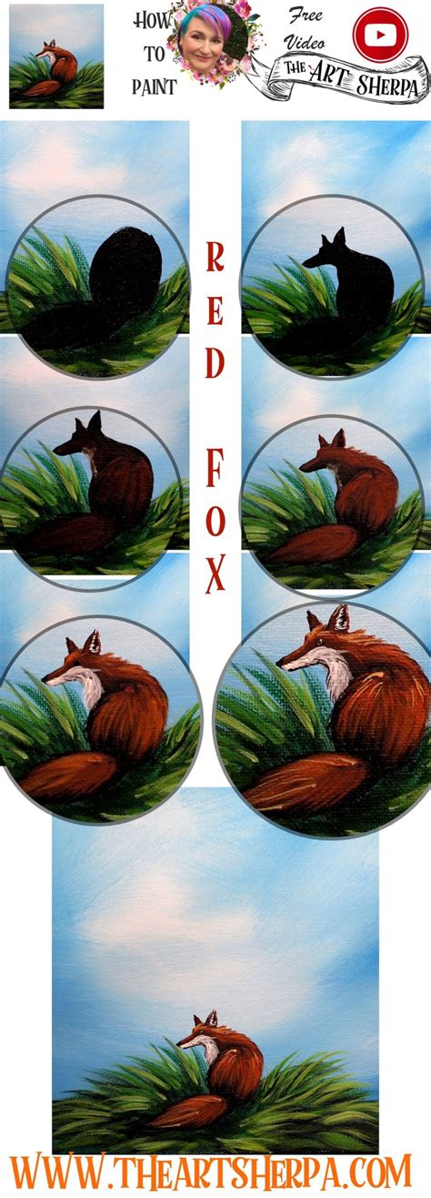 easy red fox  fall tree acrylic painting step  step