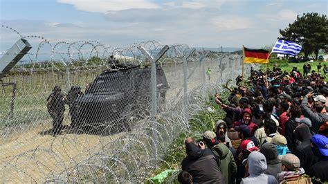 macedonian border tensions  migrants  police