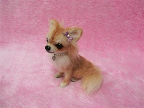 needle felted long coat chihuahua cute miniature wool dog