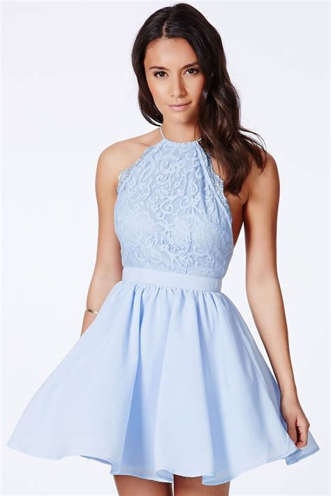 Cotton Dress Baby Blue chic cross back lace backless design baby blue dress