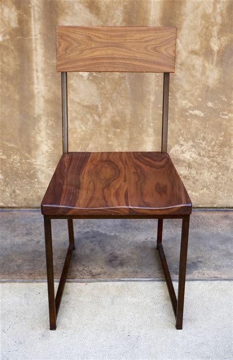 wood metal dining chair 215 walnut seat metal frame