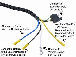 Adapter 4 Pole To 7 Pole Vehicle End Trailer Connector Tow Ready Wiring 30717