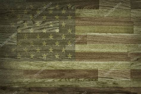 brown wood texture  background faded american flag