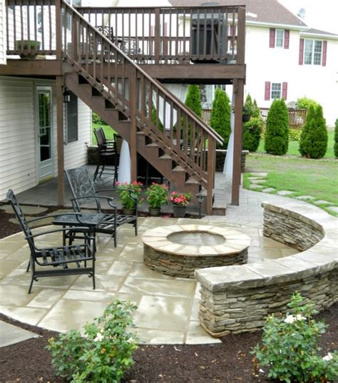 patio deck with separate firepit patio