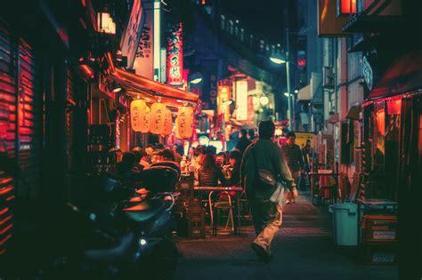 fondos de pantalla japon ciudad calle noche rojo la