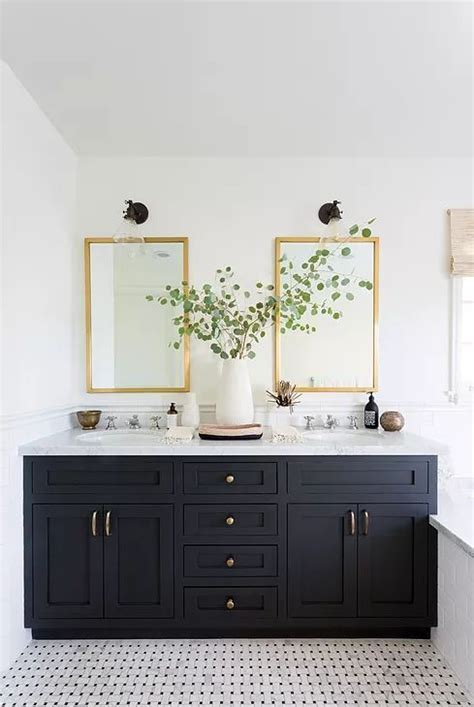 black bathroom double sink vanity  brass hardware