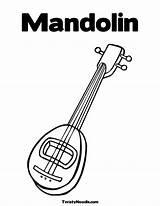 Coloring Banjo Pages Mandolin Printable sketch template