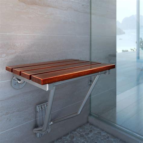 folding teak shower chair bath seat wood spa bench
