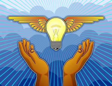 stock illustration light bulb with wings