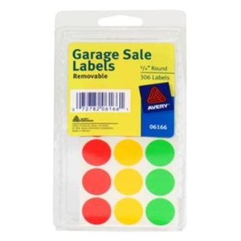 Avery Labels, Garage Sale, Removable, 34inch Round, 306