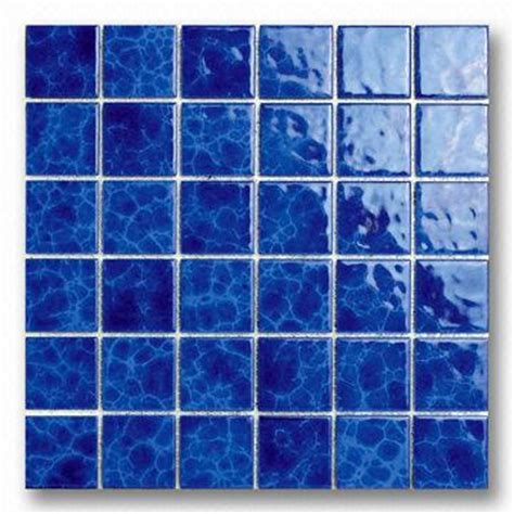 48mm blue porcelain mosaic tile for swimming pool use