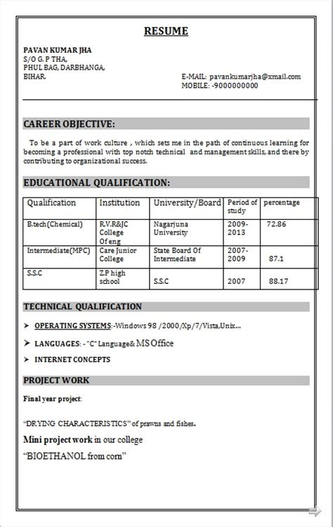 resume co b tech chemical fresher resume sle