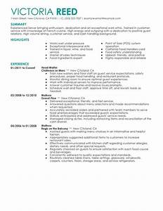 Restaurant resume duties