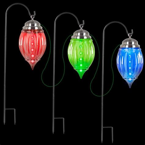 tall christmas light stakes lightshow multi color shooting pathway ornament stakes set of 3 88783 the home depot