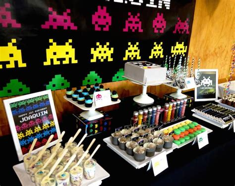 karas party ideas space invaders  birthday party