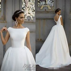 Simple style 2016 white wedding dresses jewel neck cap for Wedding dresses that aren t white