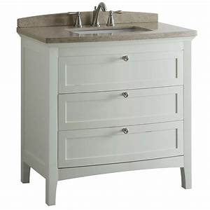 Shop Allen Roth Norbury White Vanity With Light Yellow