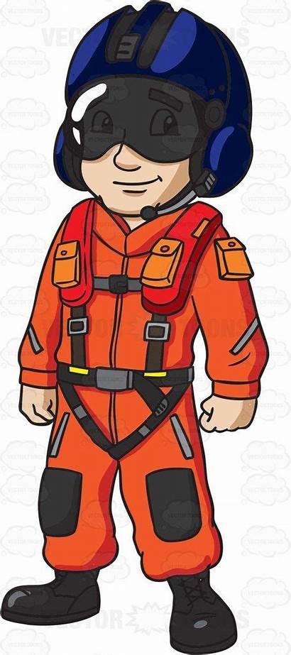 Pilot Clipart Helicopter Guard Coast Military Cartoon
