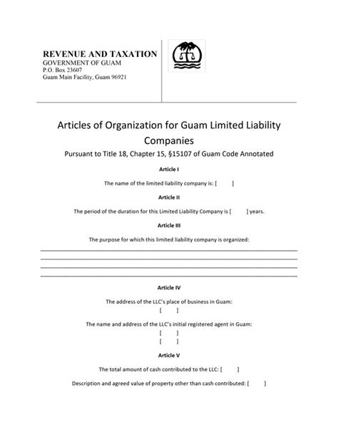 llc articles of organization template guam articles of organization free template form