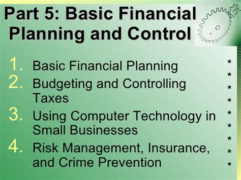 part 5 basic financial planning and control