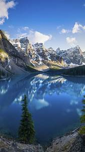 Moraine, Lake, 4k, Wallpaper, Banff, National, Park, Mountains, Daytime, Scenery, Alberta, Canada