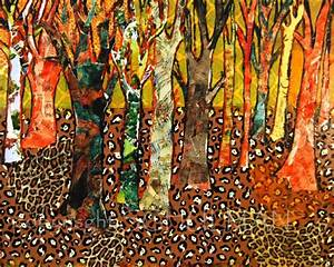 art Large Abstract TREE Wall art, mixed media collage 24x30
