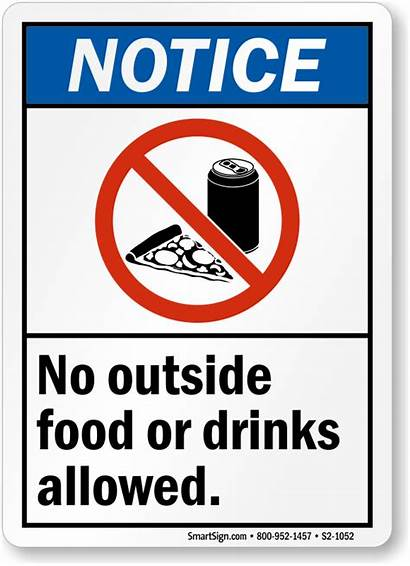 Allowed Outside Drinks Sign Drink Signs Notice