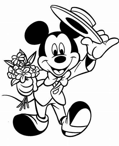 Mickey Coloring Mouse Pages Disney Valentine Minnie